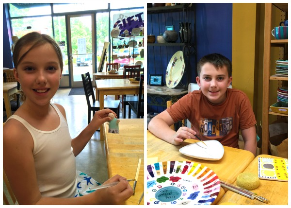 kids painting at The Mud Hut