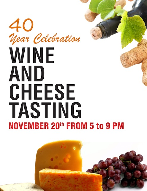 wine and cheese tasting sign for site